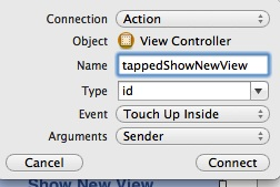 Tapped show new view action