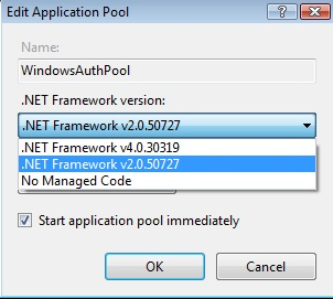 App Pool Framework Version