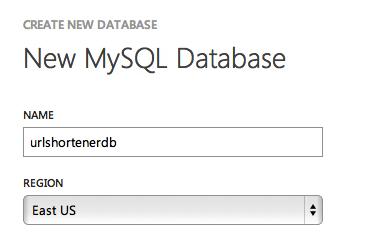 New Windows Azure Website Name Database