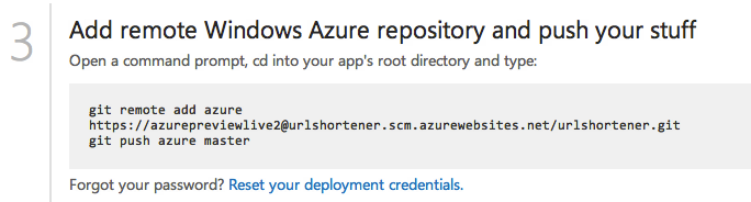 Windows Azure Website Remote Repo