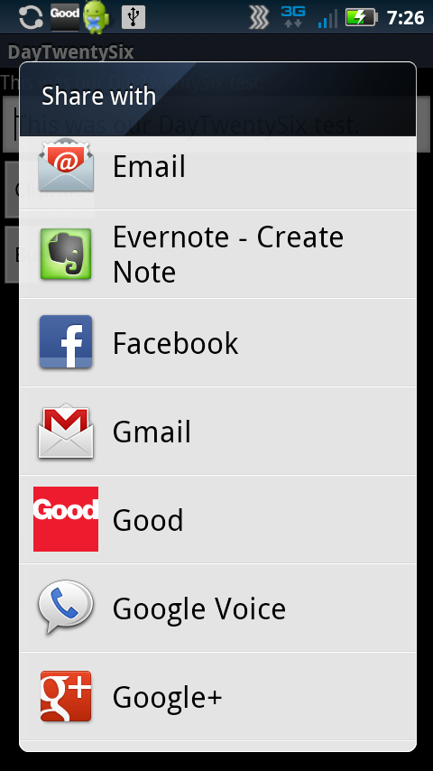 Android Sharing Options