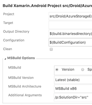 Build Xamarin Additional Arguments