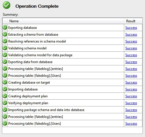 SQL Database Operation Complete
