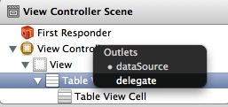 Connecting the table view delegate