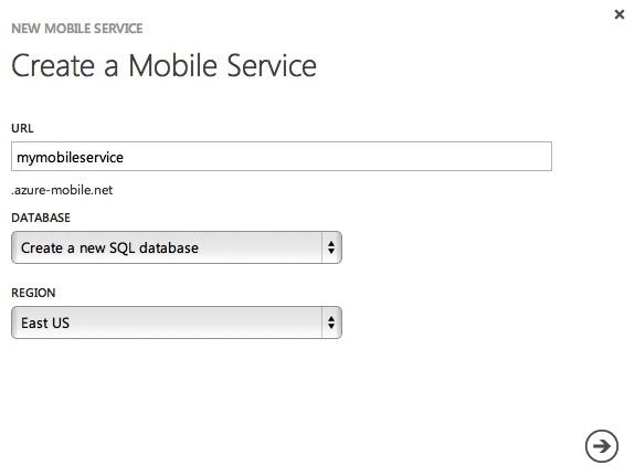 Create Mobile Service