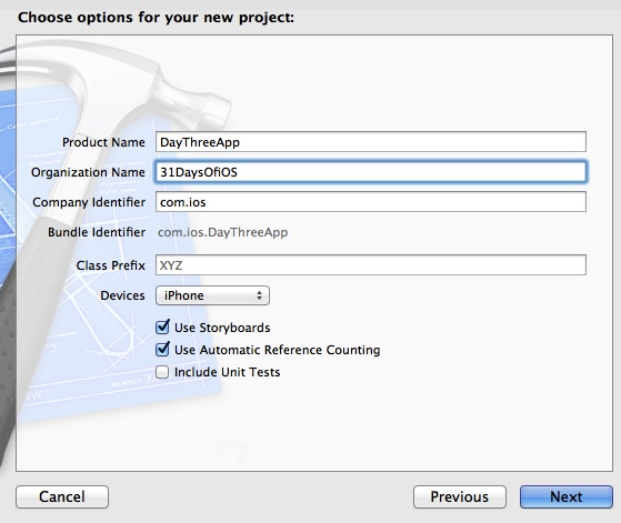 Naming a project in Xcode